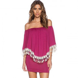 Tassel Off The Shoulder Ruffle Bodycon Dress Women Strapless Short Sleeve Pencil