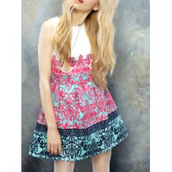 Three-dimensional Print Dress Sleeveless Floral MINI Dress