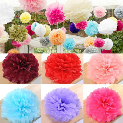 Mjukpapper Pom Poms Blomma Bollar Bröllop Party Baby Shower Decor