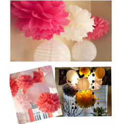 Tissue Paper Pom Poms Garland Flower Ball For Wedding Decoration
