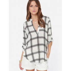 V Neck Plaid Chiffon Blouse Women Loose Check White Shirts Blouse