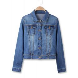 Vintage Blue Short Turn Down Cropped Denim Coat