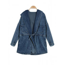Vintage Casual Free Size Fashionable Jeans Trench Hooded Coat