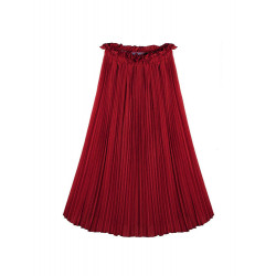 Vintage Elegant Elastic Waist Women Pleated Chiffon Ankle Length Skirt