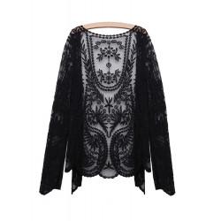 Vintage Lace Embroidery Blom- Virka Kvinna Cardigan Långärmad Blus