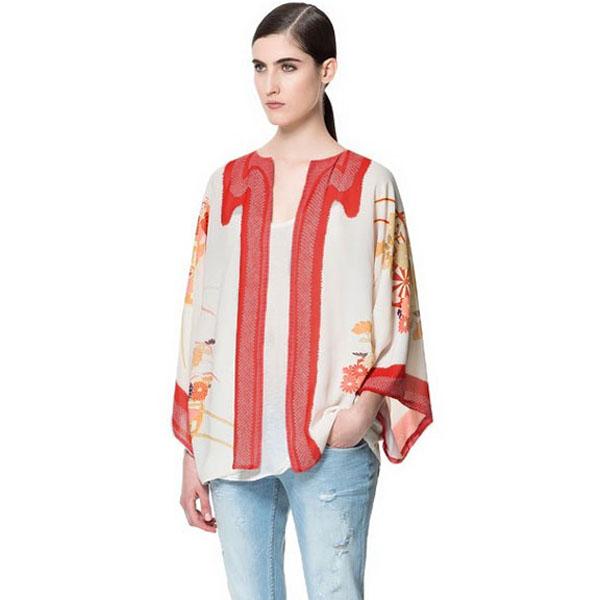 Vintage Lös Blomster Print Batwing muffChiffon Kimono Cardigan Damkläder