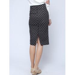 Vintage Wave Point Package Hip Back Vent Skirt For Women