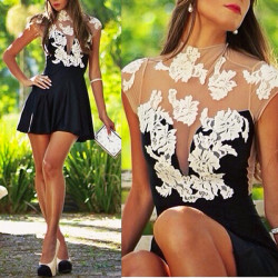 Vintage Women Lady Short Sleeve BodyCon Lace Sexy Party Cocktail Prom Dress