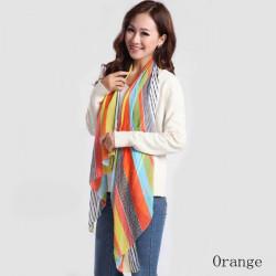 Warm Regenbogen Muster Chiffon Samt koreanischen Stil langen Schal