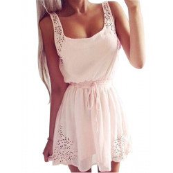 White Lace Waist Sleeveless Dresses For Women Shrink Waist Slim Dress