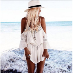 White Off Shoulder Short Jumpsuit Strap Patchwork Lace Romper Chiffon