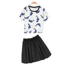 Weiß Kurzarm Dolphin Druck T Shirt mit schwarzem Rock