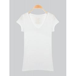 Vit Kortärmad V-ringad T-Shirt
