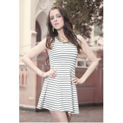 White Sleeveless Stripe Dress
