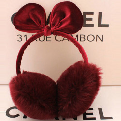 Winter Fashion Bowknot Earmuffs Rabbit Ears Thermal Velvet Earmuffs