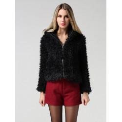 Vinter Mode Kvinna Långärmad Lös Fuskpäls Ytterkläder