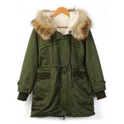 Winter Women Outdoor Casual Jacket Fur Hooded Fleece Windproof Coat