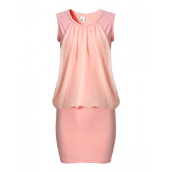 Woman Chiffon Stitching Dress Sleeveless Solid Color Mini Dress
