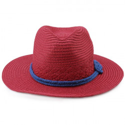 Woman Knot Embellished Wide Brim Hat Red and Beige Color