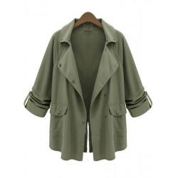 Women Army Green Fold Sleeve Loose Button Pockets Cardigan