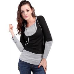 Kvinder Efteråret Two Piece Langærmet Hætte Damer T-shirt Sweatshirt