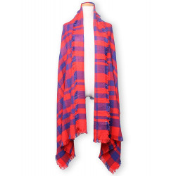 Women Autumn Winter Grid Long Wool Scarf Shawl
