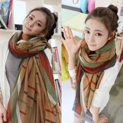 Kvinna Höst Vinter Koreanska Stil Stripe Voile Halsduk