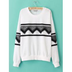 Kvinna Höst- och Vinter Långärmad Geometry T-shirt