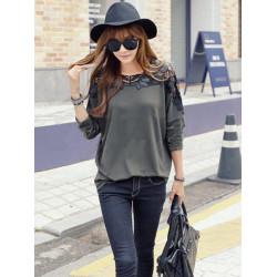 Kvinder Tilbage Bowknot Hæklet T-shirt Lace Bat Sleeve Stitching Bluse