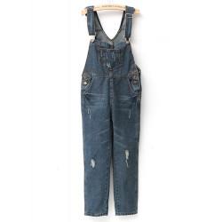 Kvinna Baggy Helkroppsbild Strap Hole Jeans Byxor Jumpsuits