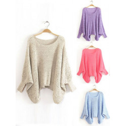 Women Batwing Sleeve Casual Hollow Knitted Pullover Sweater