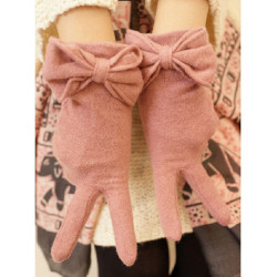 Women Big Butterfly Knot Wool Cashmere Gloves Significantly Thinner