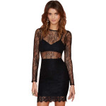 Women Black Catwalk Lace Dress Perspective Patchwork top Sheath Women's Clothing