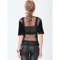 Women Black Lace Short Sleeve Sequined Round Neck Blouse