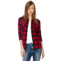 Women Black Red Plaid Checkered Pockets Shirt Blouse