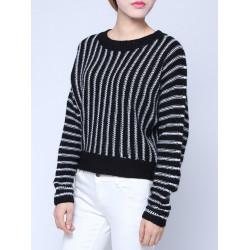 Frauen Schwarz Weiß Streifen Bat Langarm Short Pullover Strickjacke