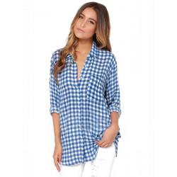 Frauen Blau Lose Plaid Bluse Revers Langarm Taschen Checkered
