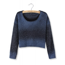 Frauen Blau Rendering White Dot Langarm Crop Pullover Strickjacke