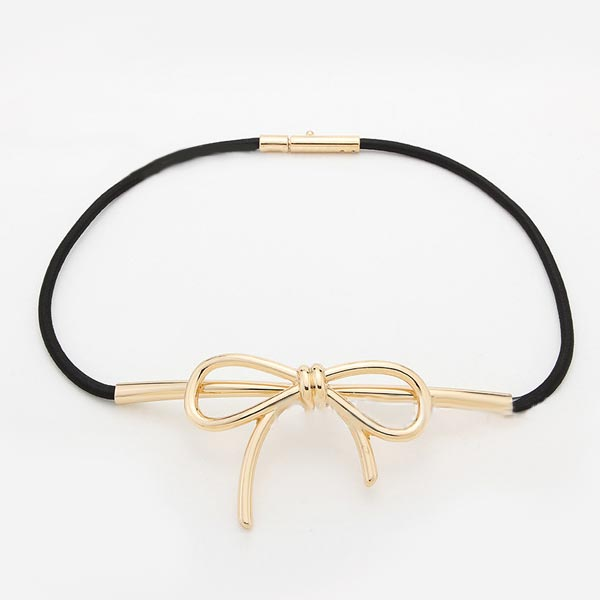 Women Bowknot Metal Buckle Thin Elastic Waist Rope Belt Women's Clothing