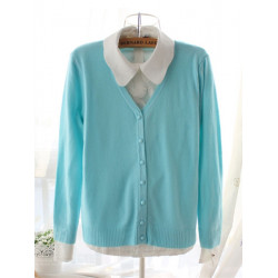 Women Candy Color V Neck Long Sleeve Slim Knit Cardigan Sweater