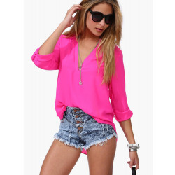 Women Candy Long Sleeve V Collar Women Shirts Loose Chiffon OL Blouse