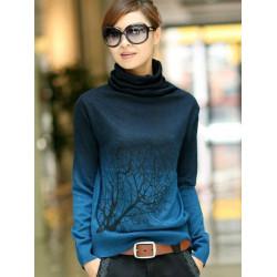 Frauen Kaschmir Rollkragenverzweigungsmuster Farbverlauf Sweater