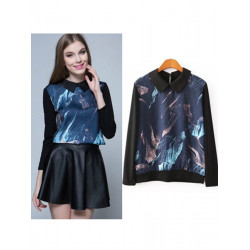 Women Casual Abstract Pattern Printed Long Sleeve Pullover Blouse