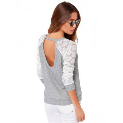 Women Casual Backless Lace Patchwork Long Sleeve T-shirt