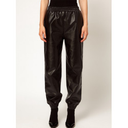 Women Casual Elastic Waist Loose Black PU Faux Leather Pants Trousers