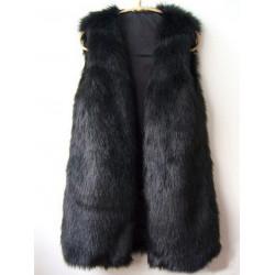 Women Casual Pelz ärmelloses Medium lange Weste Jacke Outwear
