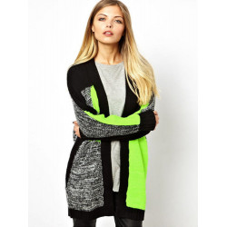 Women Casual Fluorescent Green Knitted Patchwork Sweater Cardigan