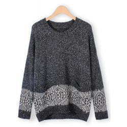 Women Casual Geometry Knitted Pullover Long Sleeve Sweater