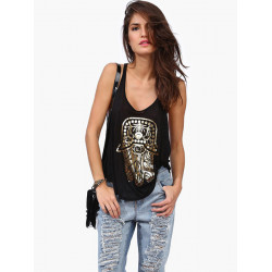 Women Casual Gold Hamsa Hand Printed Tops Sexy Sleeveless Tank Top