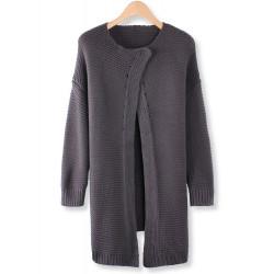 Kvinder Casual Grå Langærmet Loose Knit Cardigan Trøje Sweater